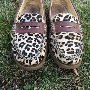 Sperry topsider in leapord print calf hair